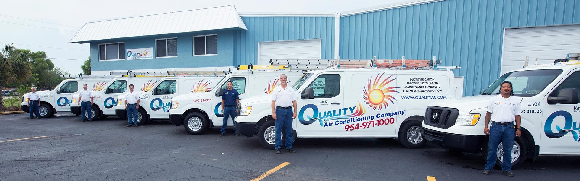 Air Conditioning Installation, Sales, Service, Maintenance, Fleet Team Shot, Serving Fort Lauderdale to Delray Beach, FL